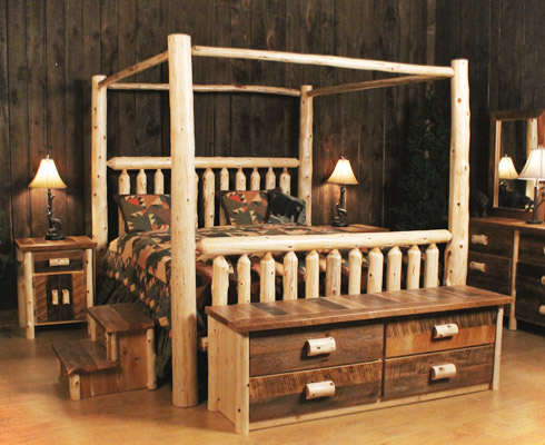 Logheads Canopy Rustic Bed