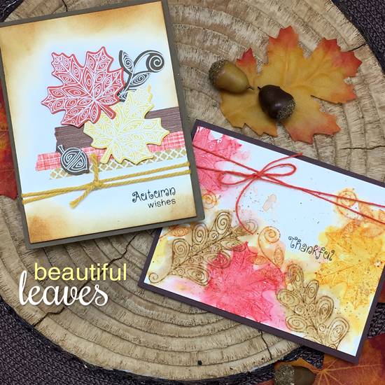 Fall Leaf cards by Jennifer Jackson | Beautiful Leaves Stamp Set & Die by Newton's Nook Designs #newtonsnook