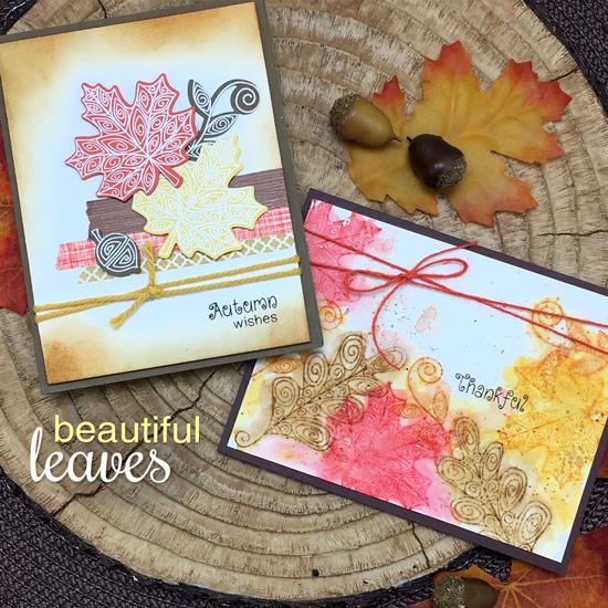 Fall Leaf cards by Jennifer Jackson | Beautiful Leaves Stamp Set & Die by Newton's Nook Designs #newtonsnook