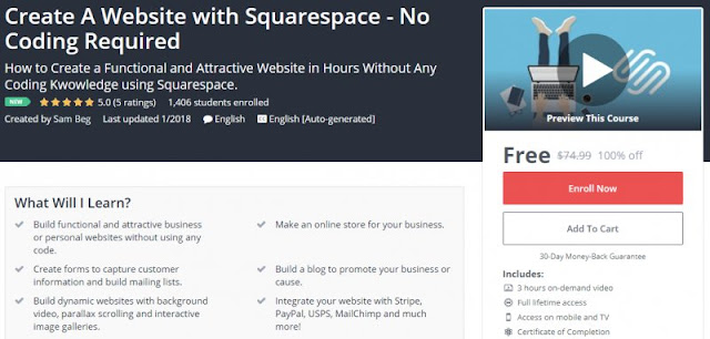 [100% Off] Create A Website with Squarespace - No Coding Required| Worth 74,99$