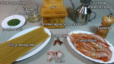Espaguetis con langostinos al ajillo. Ingredientes