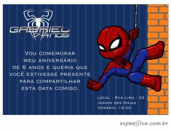 Convites de Aniversário do Homem Aranha bebe