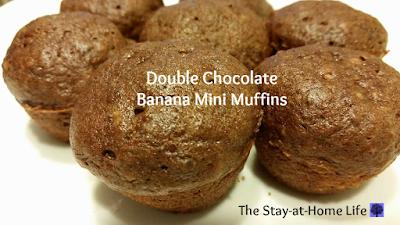 banana, chocolate chip, banana chocolate chip, double chocolate banana muffins, double chocolate banana mini muffins