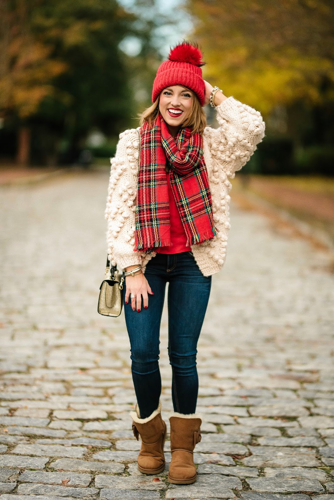 Pom Pom Heart Cardigan, Plaid Scarf & Uggs (that are on sale!) - Something Delightful Blog