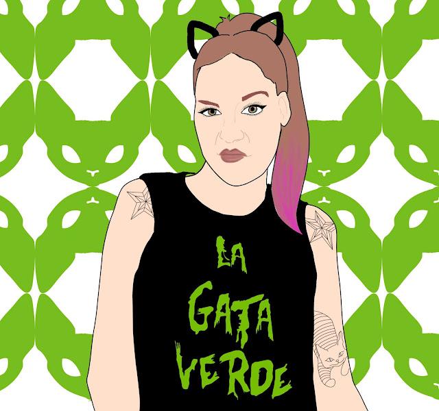 La Gata Verde - Retrato de Sara Rubayo por Irene Ramos Designs