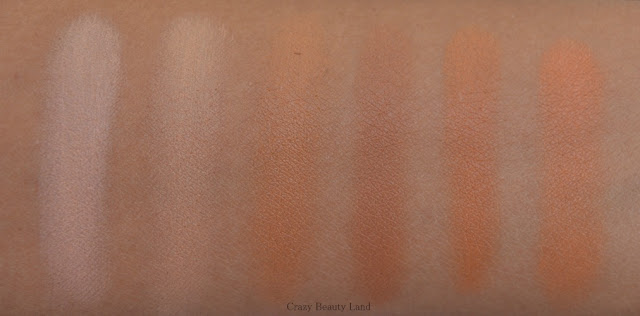 Comparison between Different shades of affordable peach and orange color correctors in India swatches