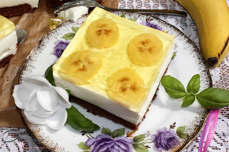 Kostka bananowo-kakaowa z galaretką