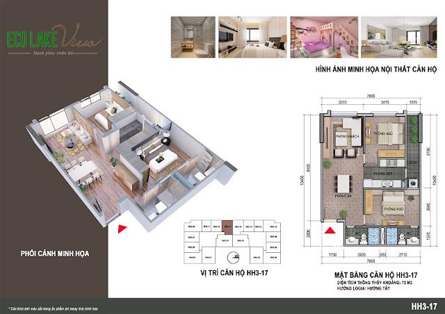 Thiết kế căn hộ 08 tòa HH-3 chung cư Eco Lake View