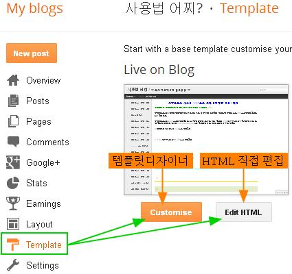 구글블로그 사용법: 템플릿디자이너와 HTML편집창 가기