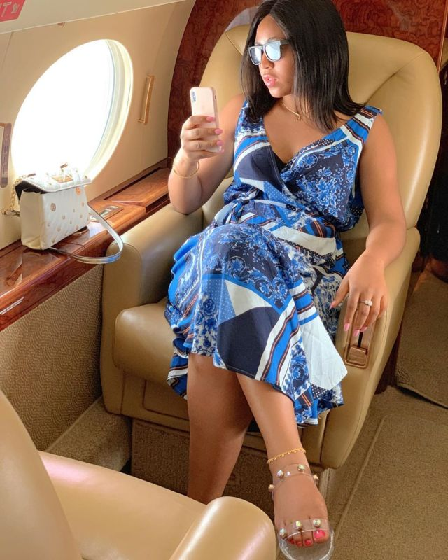Actress, Regina Daniels Flaunts Engagement Ring While Posing Inside Private Jet (Photos)