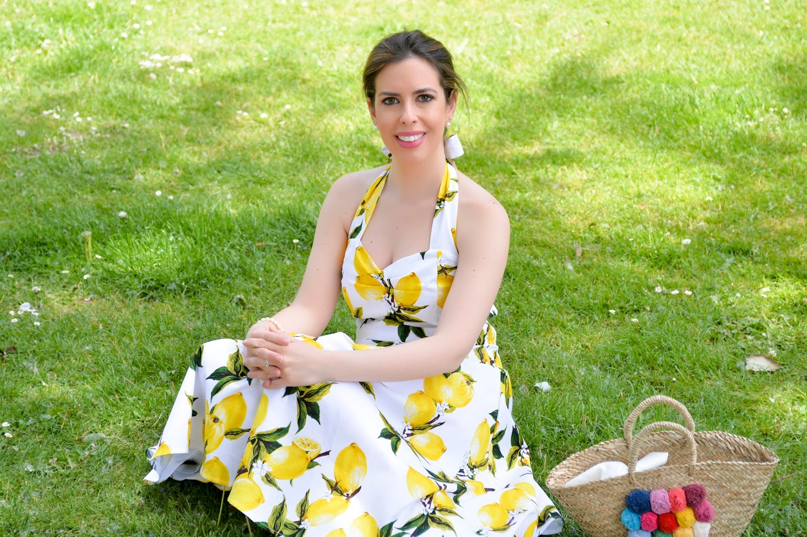 lemon print dress fashion blogger