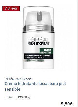 Crema piel sensible Loreal hombre