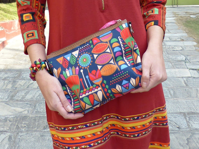 Multi colored patterned bag