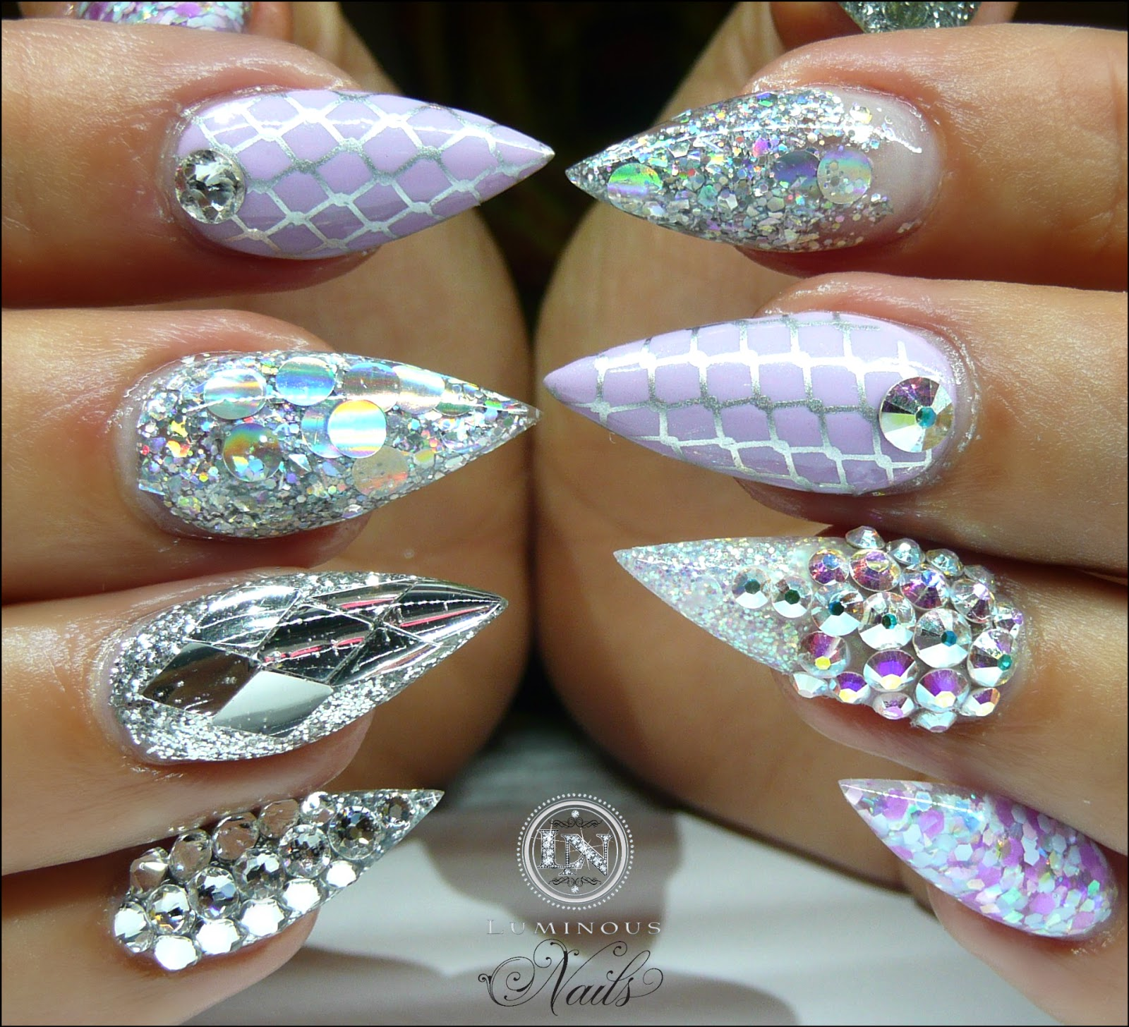 Lilac Silver Acrylic Gel Nails With Bling