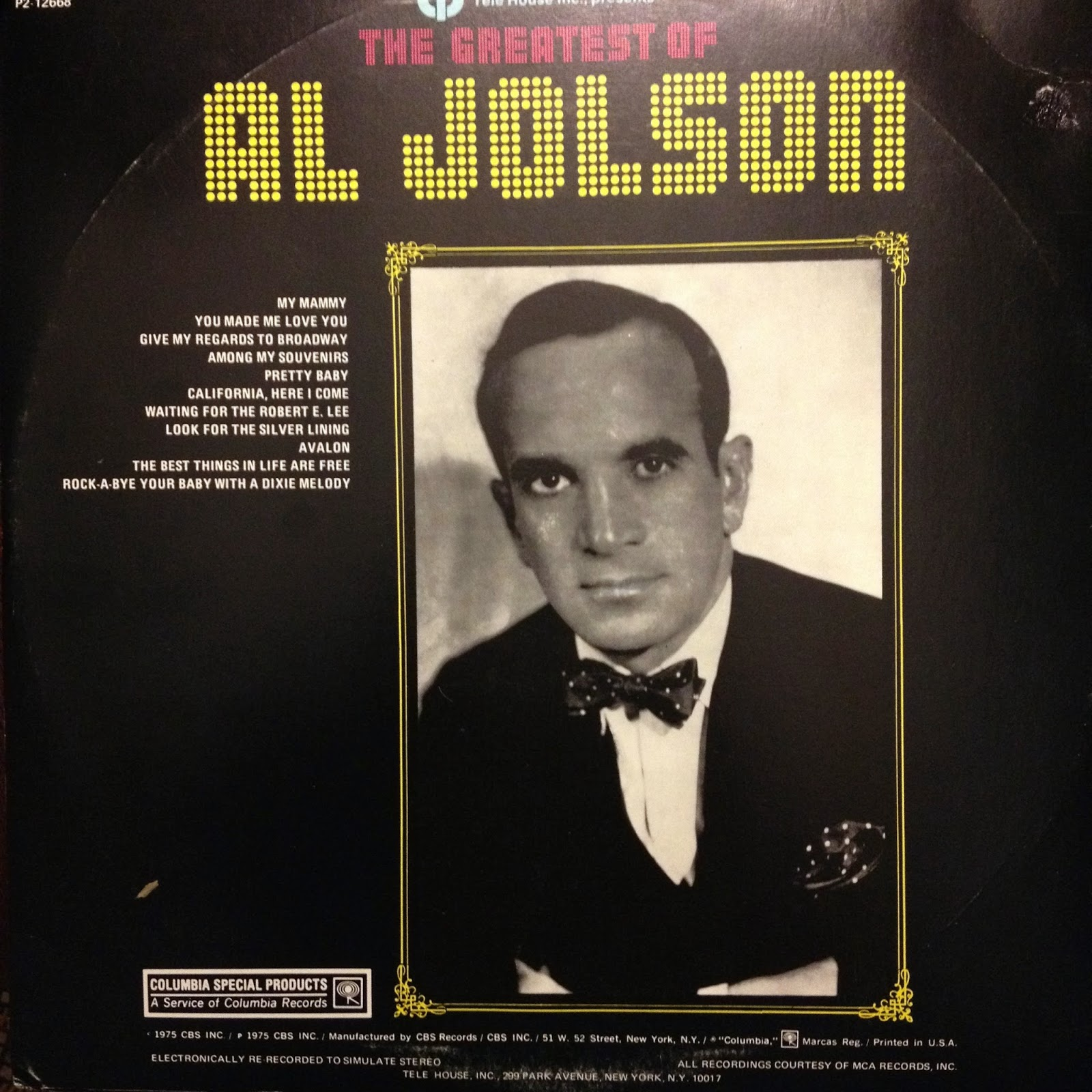 LP Cover: The Greatest of Al Jolson
