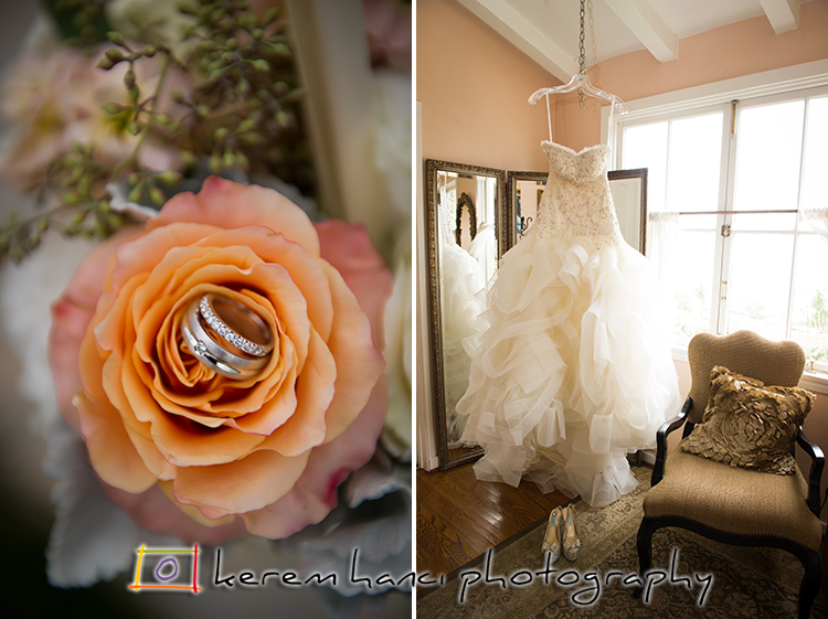 The rings and the wedding gown and the shoes at the beautiful bridal room at La Venta Inn, Palos Verdes.