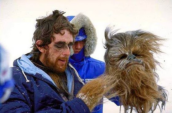 Peter Mayhew filming Hoth scenes in The Empire Strikes Back