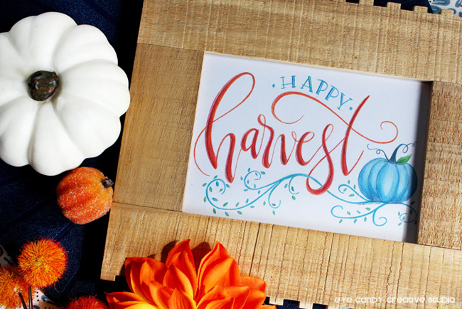 fall pumpkins, happy harvest, pumpkin art, hand lettering, free fall art