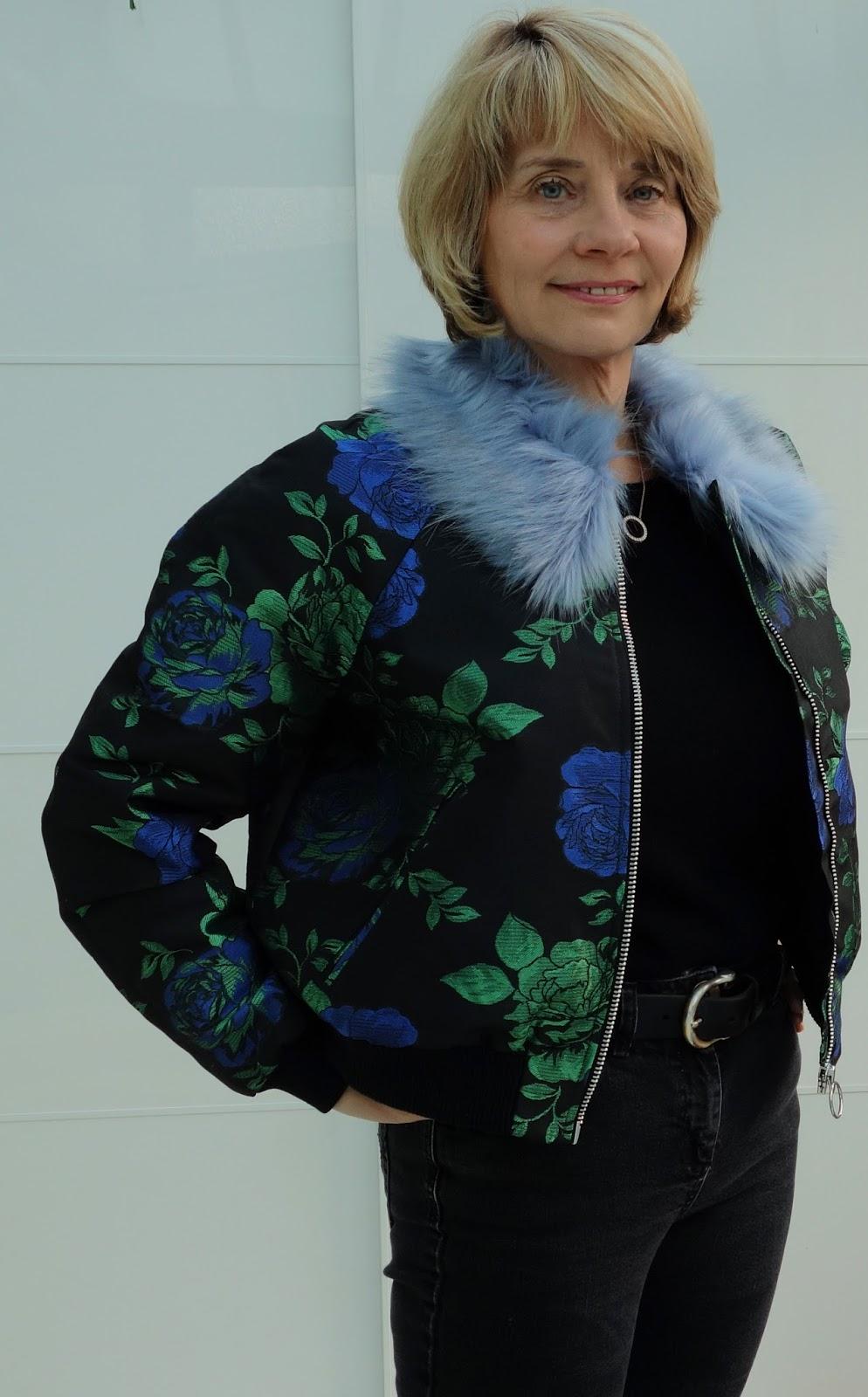 Asos faux fur trimmed jacquard bomber jacket