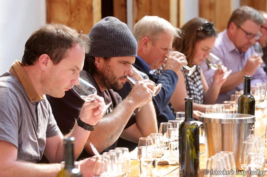 L-R: Darragh Hughes, Hawke's Bay Wine Company, Hayden Penny, Supernatural Wine Company, Mark Cairns, FruitFed Supplies, Emma Lowe, Monowai Estate, Crownthorpe, Ant Mackenzie, consultant winemaker, tasting chardonnays at a workshop about enhanced maturity wine grapes at Te Awa Estate Winery, SH50, Hastings. photograph