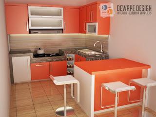 kitchen set dengan nuansa orange