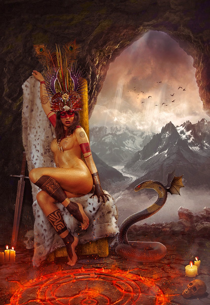 Amazone 2 - photomanipulated final - edited, sits on a throne in a cave with a winged snake nearby