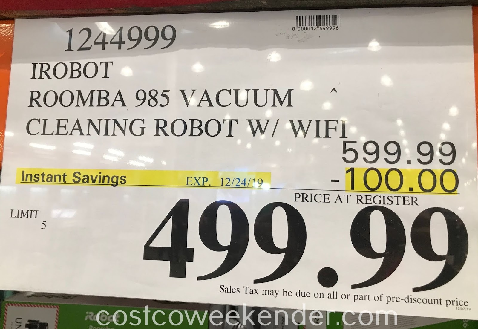 Deal for the iRobot Roomba 985 Robot Vacuum at Costco