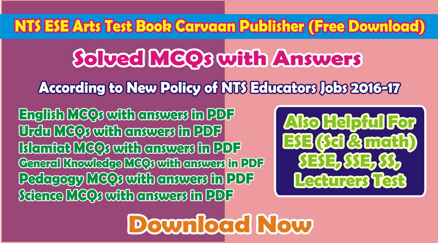 NTS Test Book with Answers Free Download Carvaan Publisher for ESE