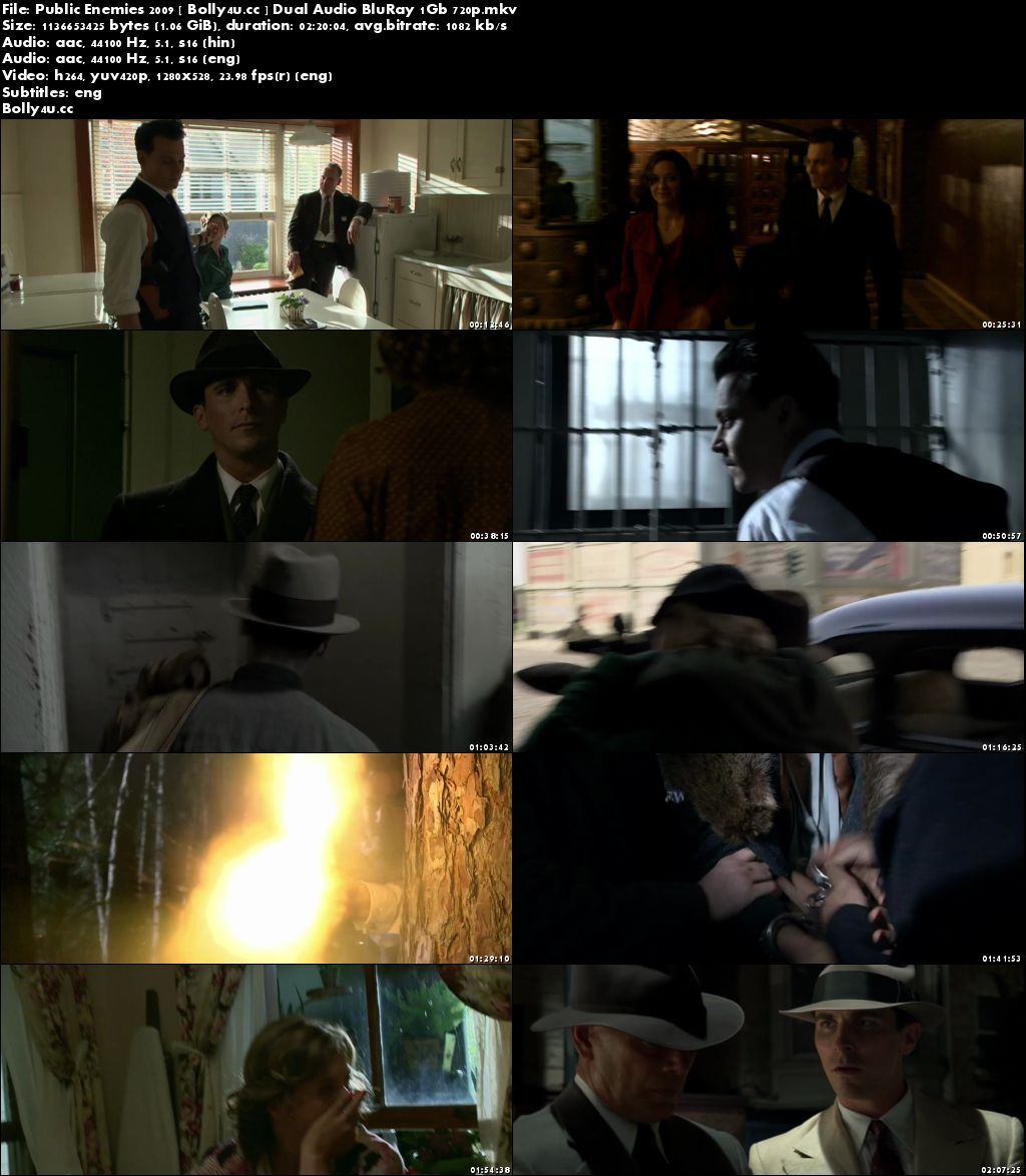 Public Enemies 2009 BluRay 1Gb Hindi Dual Audio 720p Download