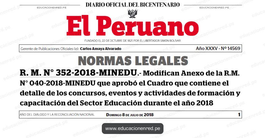 R. M. N° 352-2018-MINEDU - Modifican Anexo de la R.M. N° 040-2018-MINEDU que aprobó el Cuadro que contiene el detalle de los concursos, eventos y actividades de formación y capacitación del Sector Educación durante el año 2018 - www.minedu.gob.pe