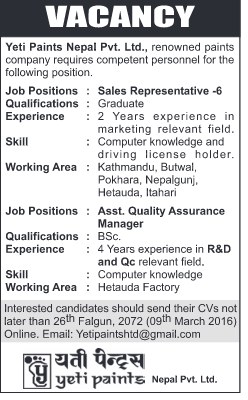 Job Vacancies for Sales Representative and other positions,   Yeti Paints Nepal Pvt.Ltd.