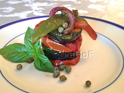 Grilled Ratatouille, served in a stack