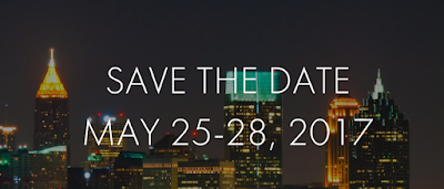 "Photo of the Atlanta skyline with the words, ""Save The Date: May 25-28,2017"""