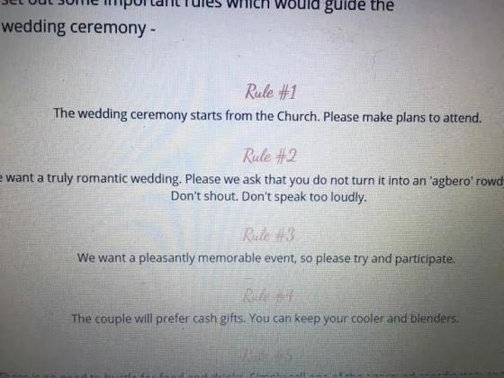 Check Out This List Of Wedding Rules That Got Nigerians Talking