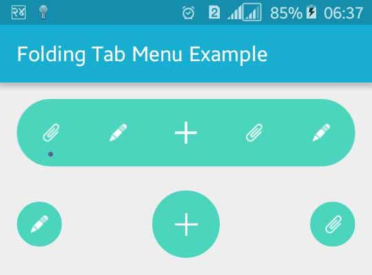 Animated Android Folding Tab Bar Menu Example | Viral Android
