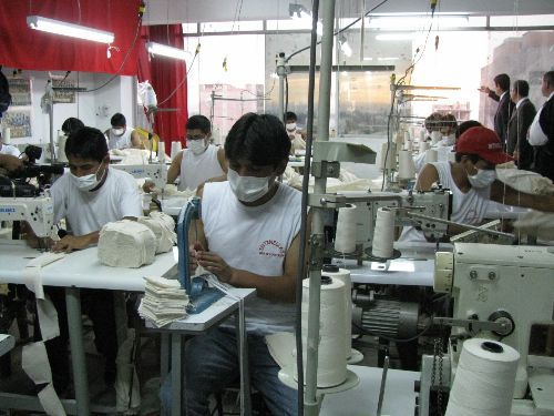 Clothing factory in the commercial emporium of Gamarra in the Lima district of La Victoria.