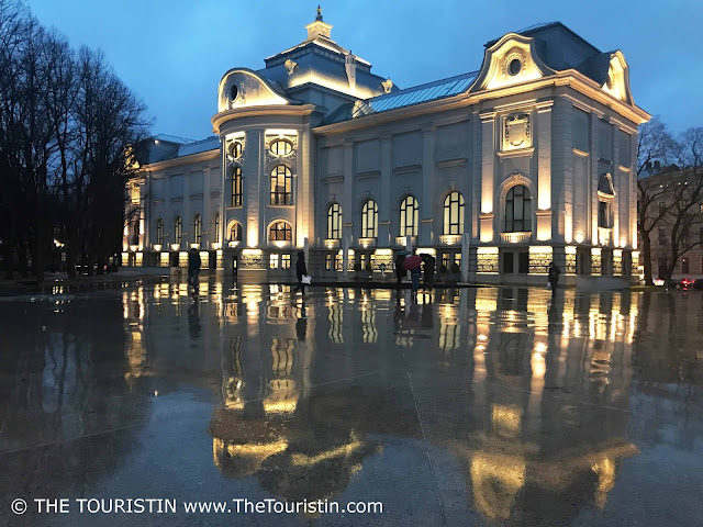 Latvian National Museum of Art. Riga. facade rain. The Touristin