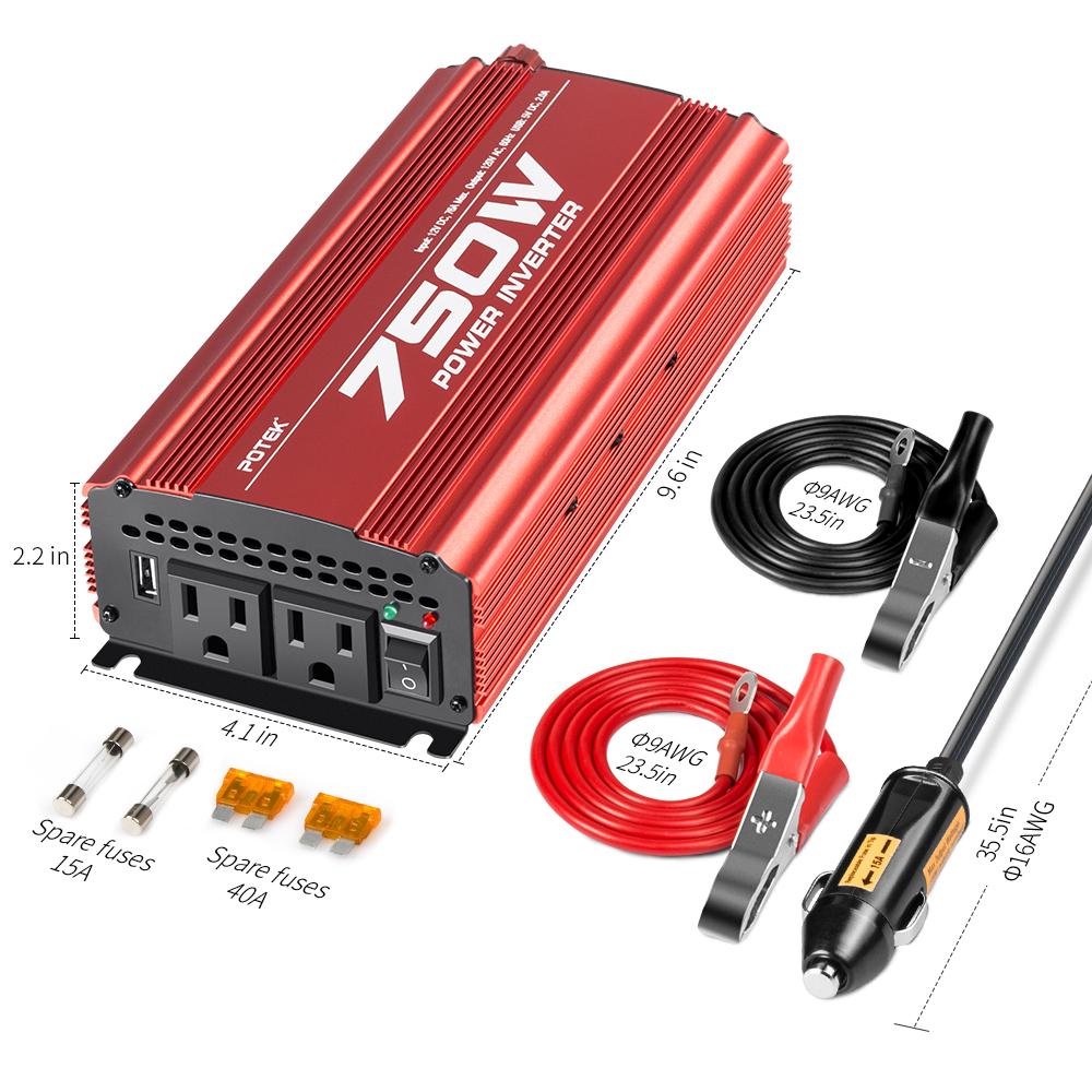 POTEK 750W Power Inverter DC 12V to AC 110V Converter with 2A USB Charging Port