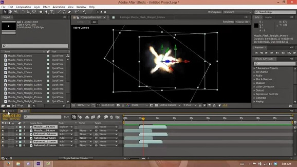 Cara membuat effect senjata, dengan software Adobe after effects