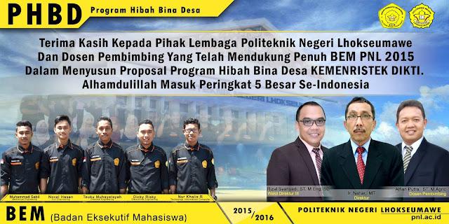 PHBD ( Program Hibah Bina Desa ) BEM PNL 2015 MASUK 5 BESAR SE-INDONESIA