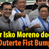 Mayor Isko Moreno does the 'Duterte Fist Bump' during launching of Pasig ferry service