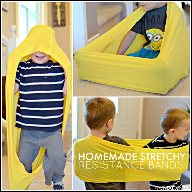 How to make stretchy resistance bands for kids - perfect for kids with autism and/or sensory processing disorder from And Next Comes L