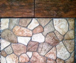 Keramik motif batu pipih sedang kombinasi serat kayu