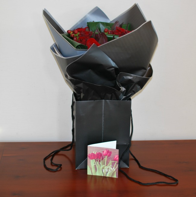 Prestige-Flowers-For-Valentines-day-A-Review-bouquet-wrapped-in-black-tissue-and-in-black-bag