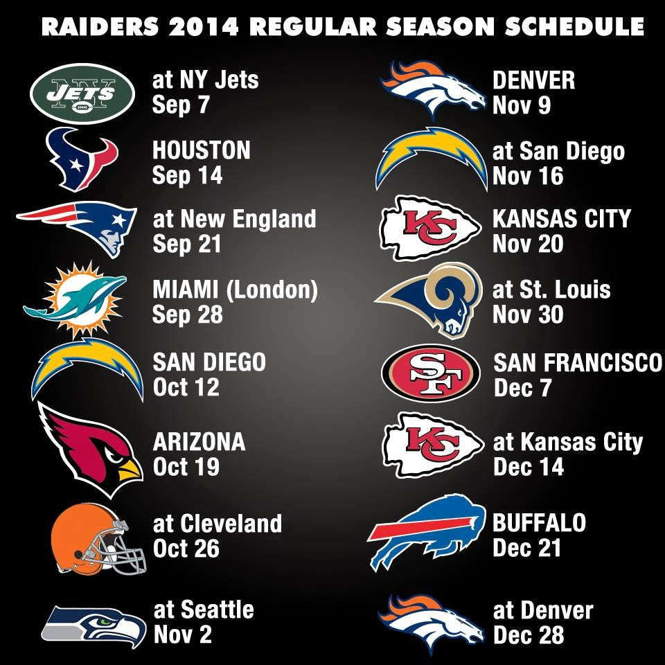 San Diego Chargers Home Schedule 2014: The Fan Blog Of A Oakland Raider And LA Laker Young Blood