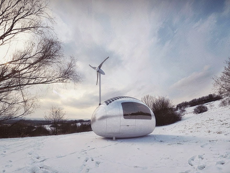 The walls are insulated to ensure maximum energy savings and maintain comfort - Tiny Wind & Solar Powered Home Lets You Live Off The Grid Anywhere In The World