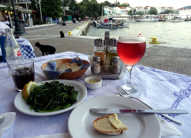 Dinner at the Fish Market - Old Port in Skiathos Island, Greece