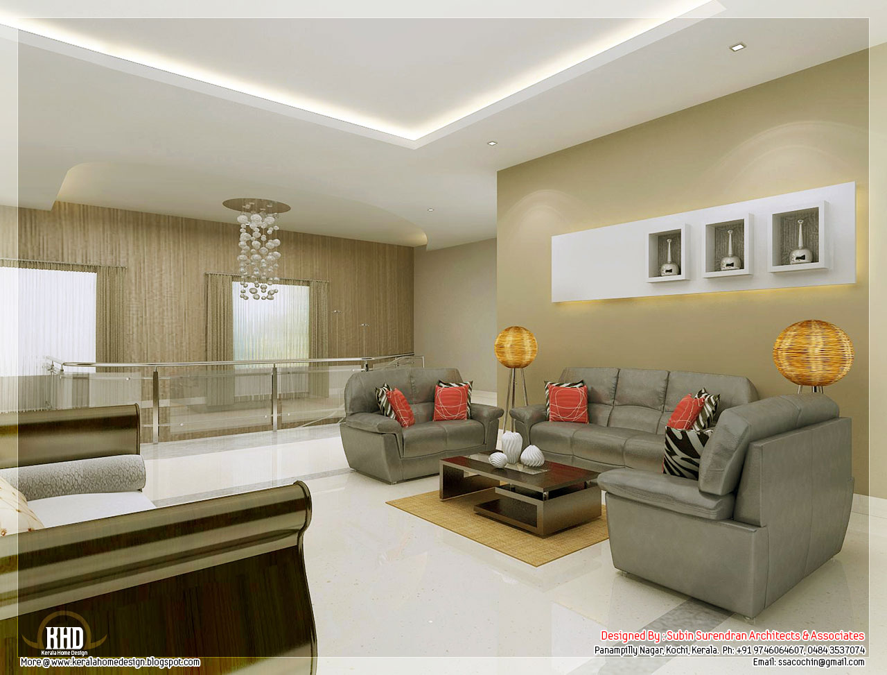 Awesome 3d interior renderings kerala home design and for Indian living room interior design photo gallery