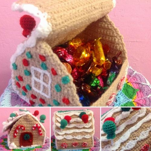 Crochet Gingerbread House Box - Free Pattern