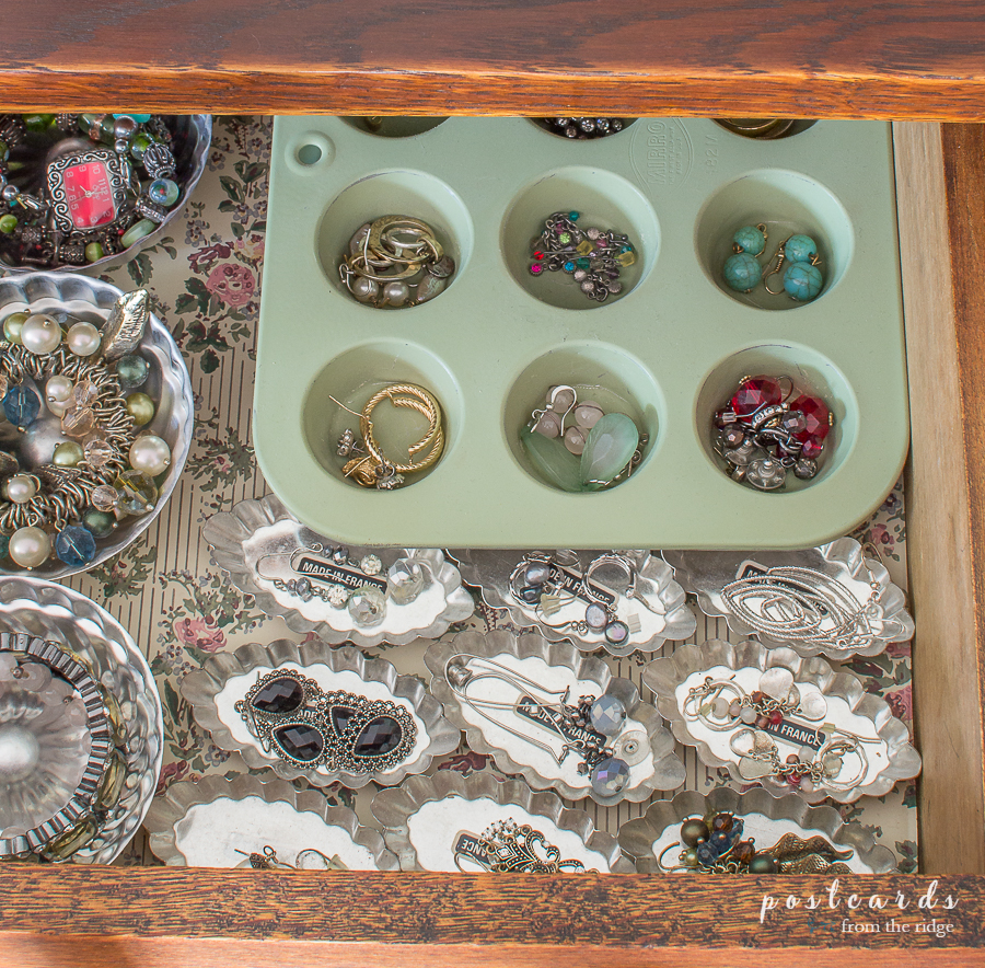 vintage muffin pan and tart tins organizing jewelry